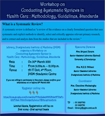 Workshop on  Conducting Systematic Reviews in  Health Care : Methodology, Guidelines, Standards