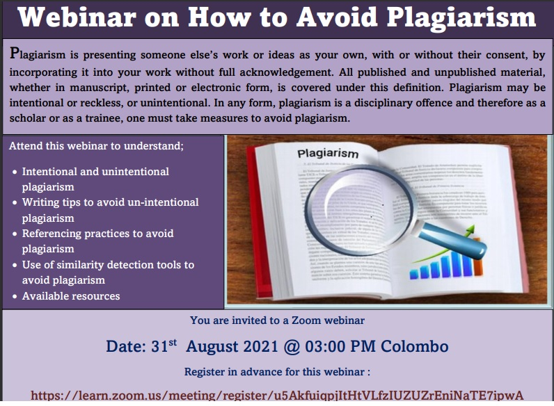 Webinar on How to Avoid Plagiarism